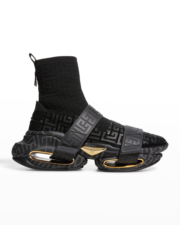 Men's B Bold Monogram Sock High-Top Sneakers