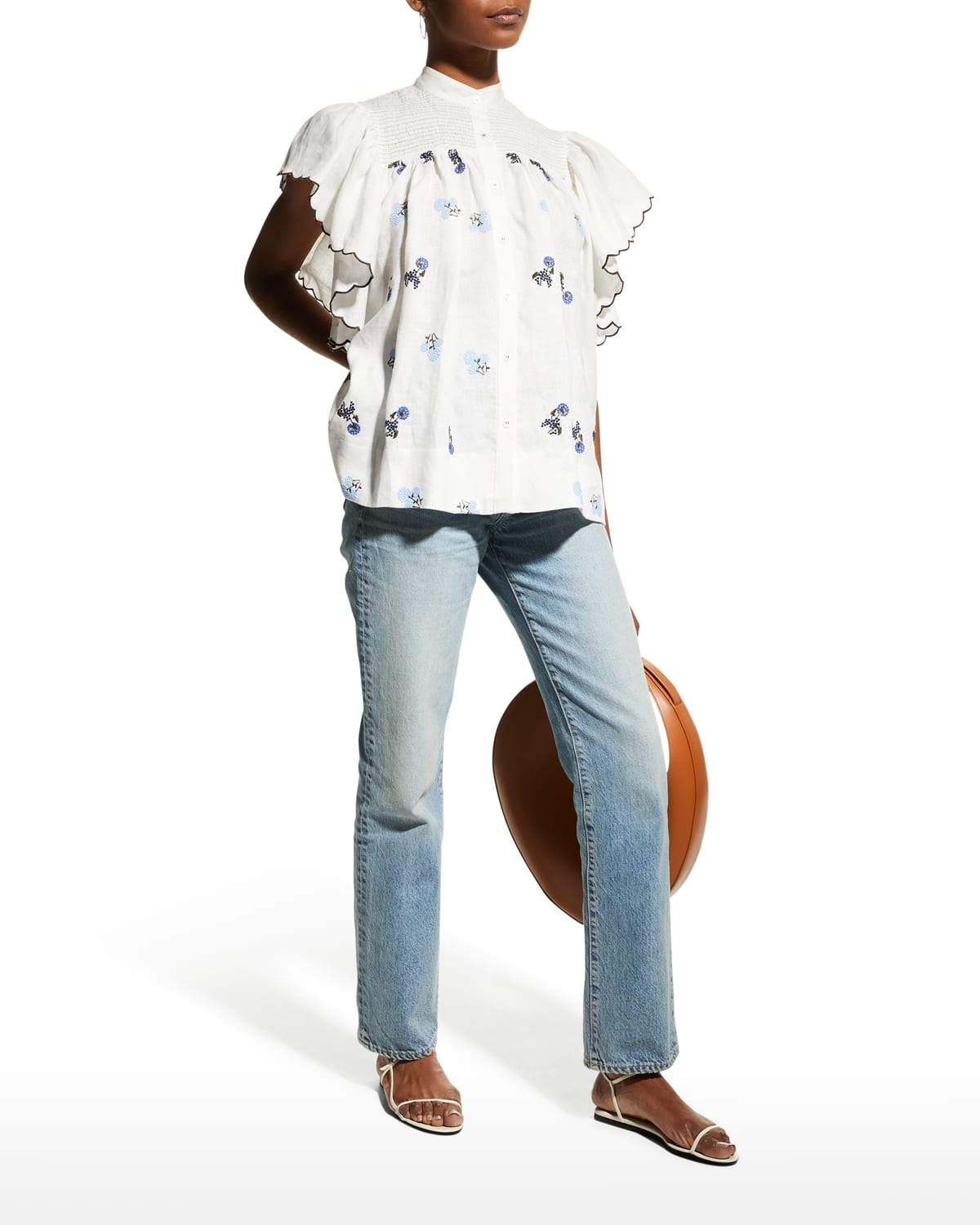 Bonnie Embroidered Button-Front Top