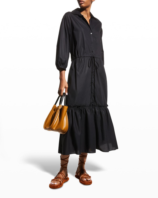 Hutton Puff-Sleeve Midi Shirtdress