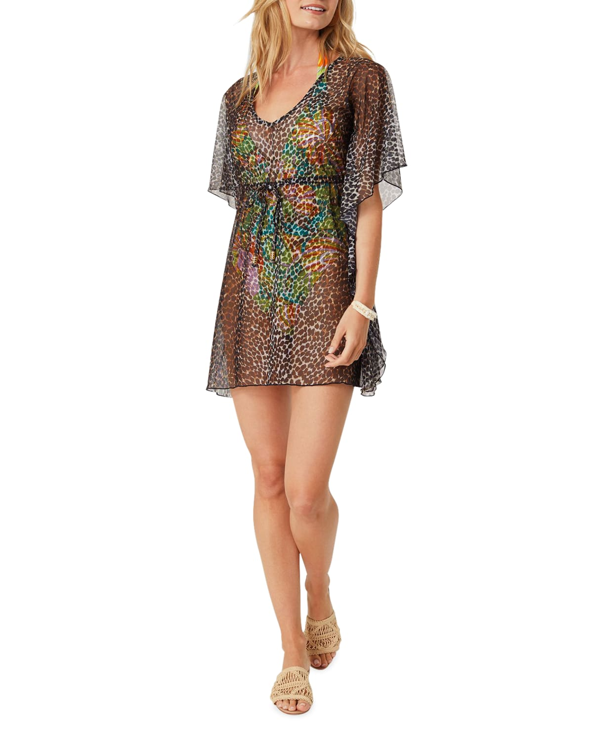 Leopard-Print Luxe Coverup with Tie Waist