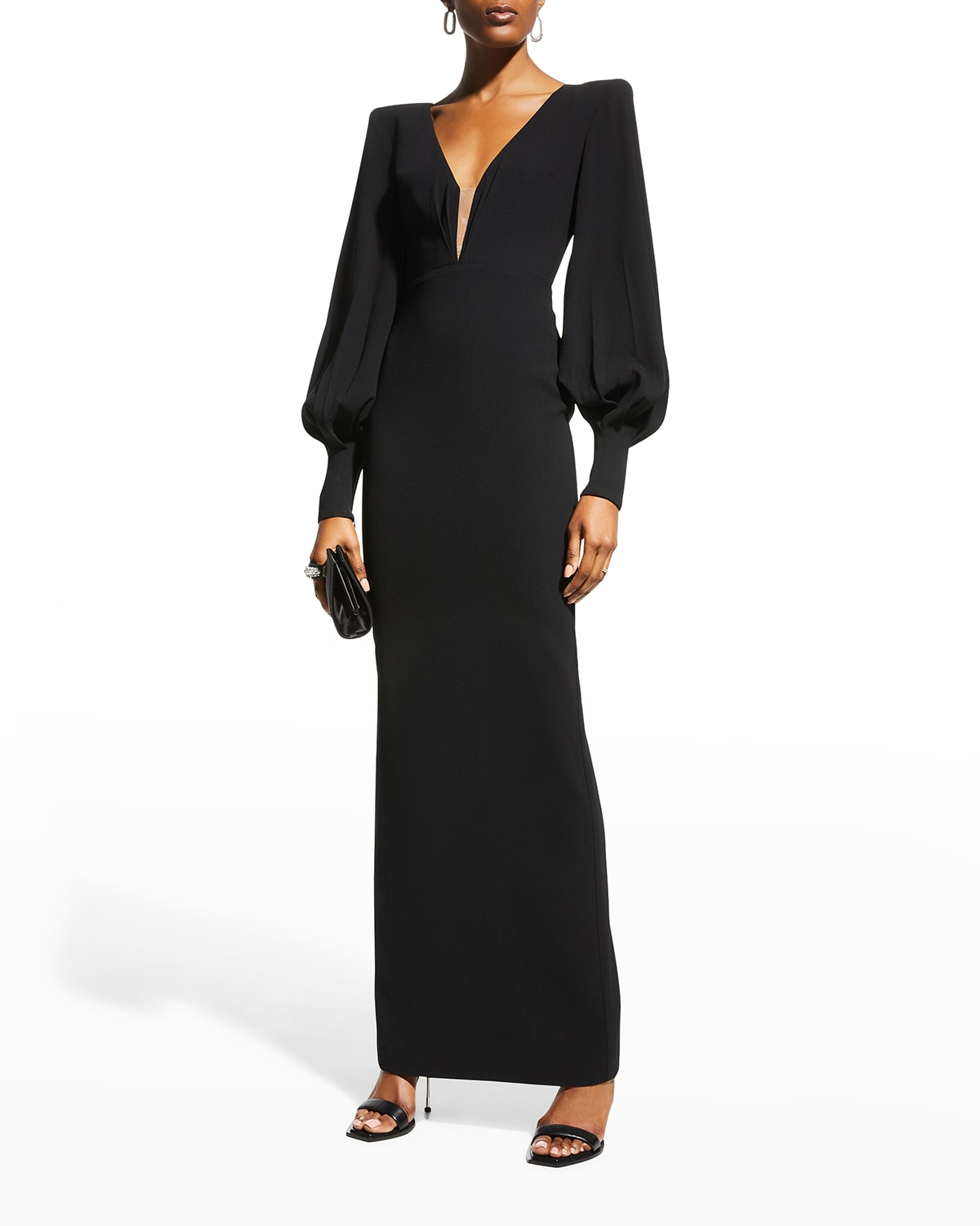 Carlin Strong-Shoulder Gown
