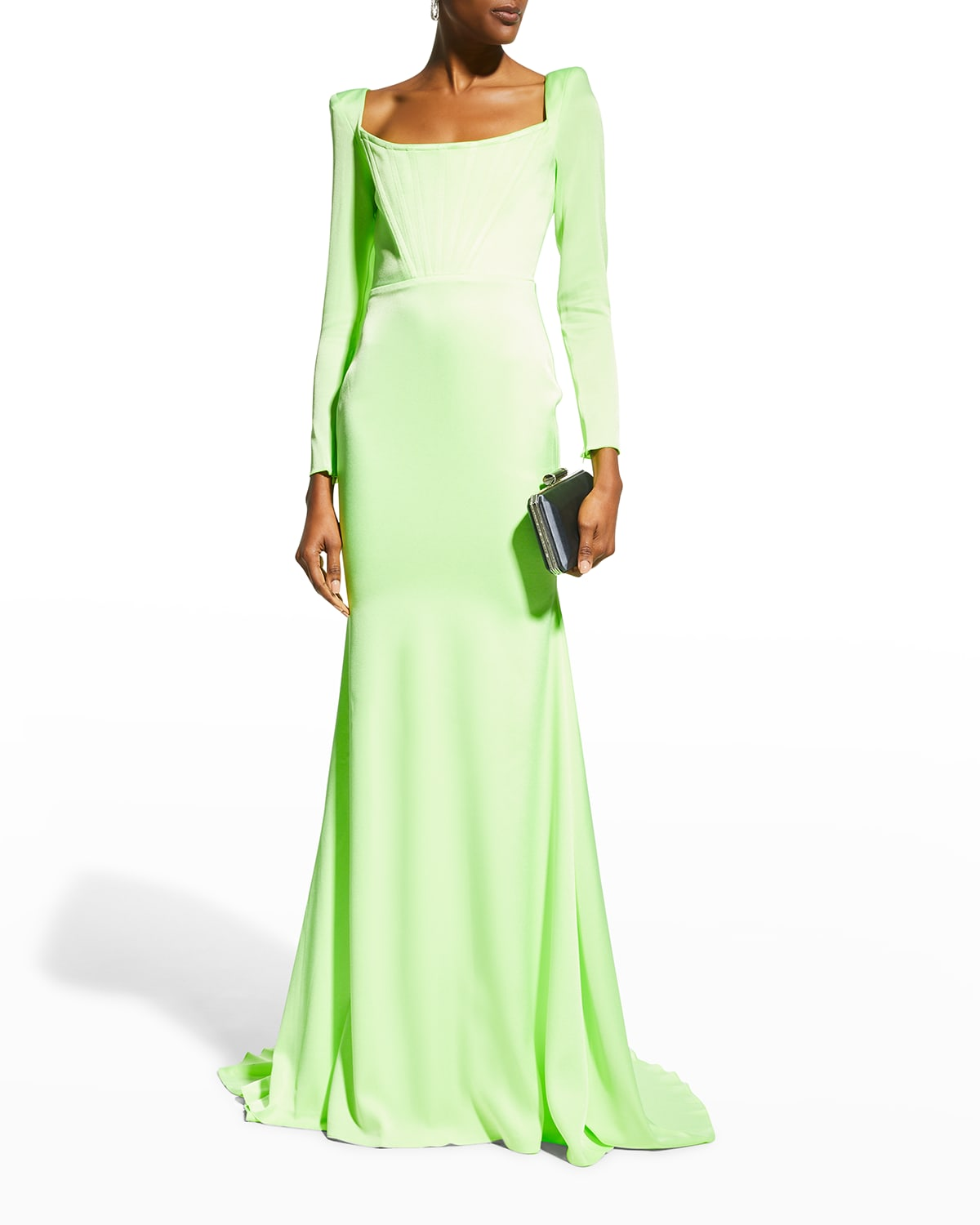 Brant Strong-Shoulder Corset Gown