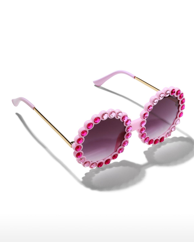 Kid's Round Tonal Crystal Sunglasses