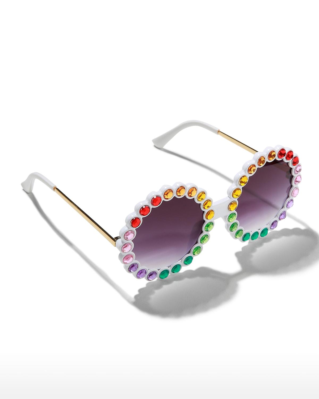 Kid's Round Multicolor Crystal Sunglasses