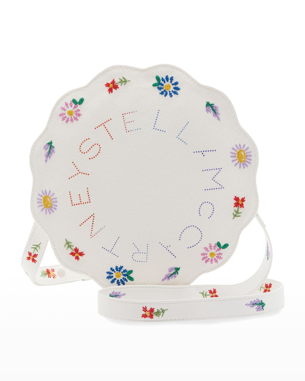Girl's Floral & Logo Embroidered Crossbody Bag