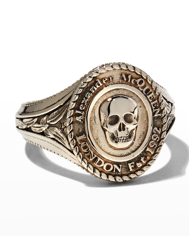 Men's Medallion Skull Signet Ring