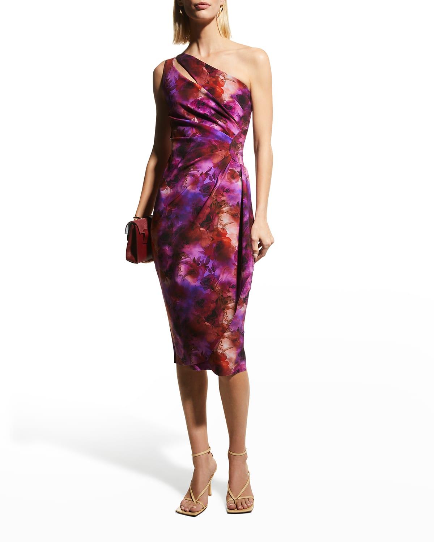 Zeudi Rose-Print One-Shoulder Dress