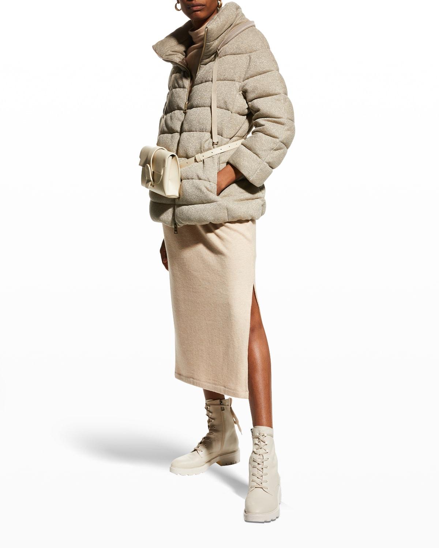 Lightweight Metallic Zip-Front Coat