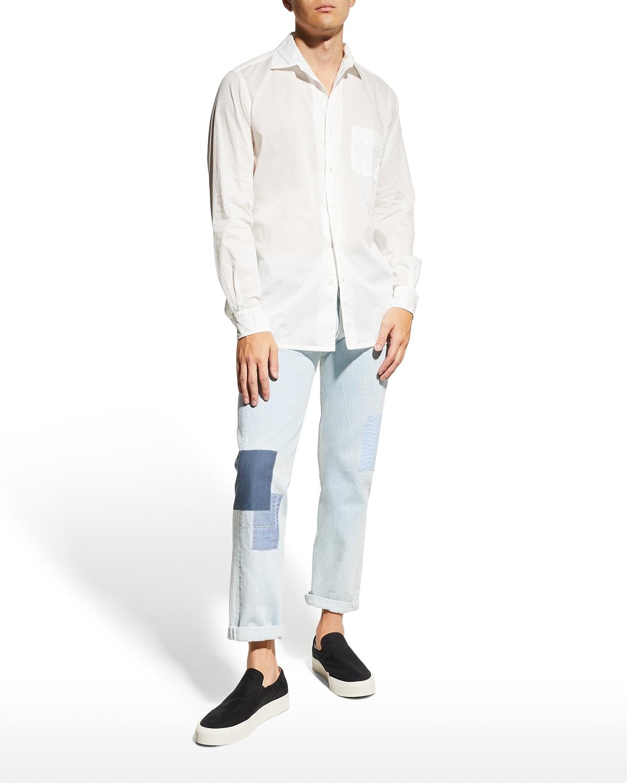 Men's Exclusive Cotton Voile Handkerchief-Print Sport Shirt