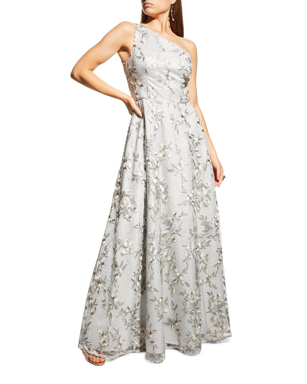 One-Shoulder Floral A-Line Gown