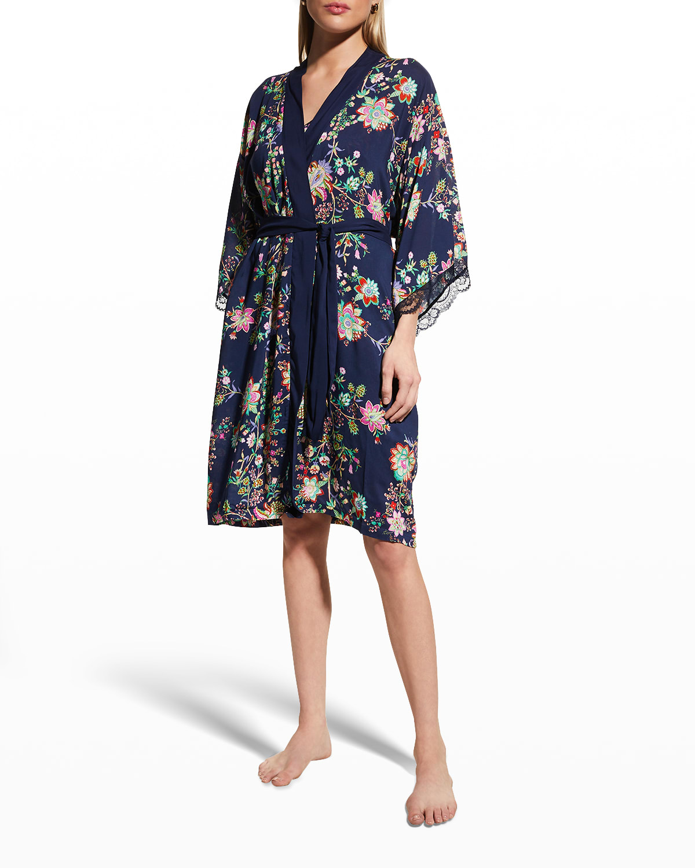 Floral-Print Lace-Cuff Robe