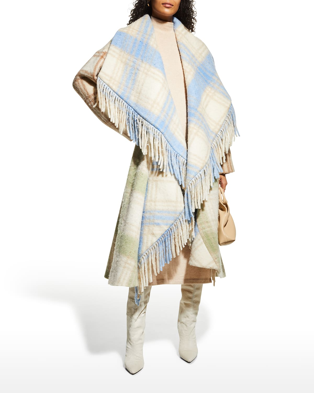 Lita Plaid Shawl-Collar Fringe Coat