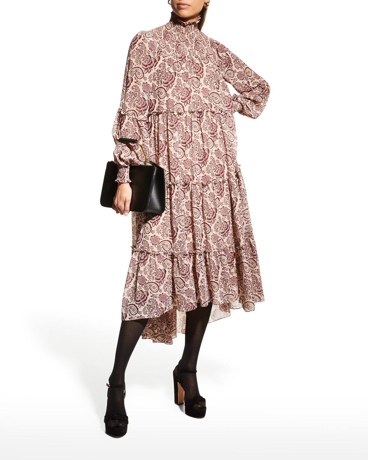 Rika Tiered Paisley High-Low Dress