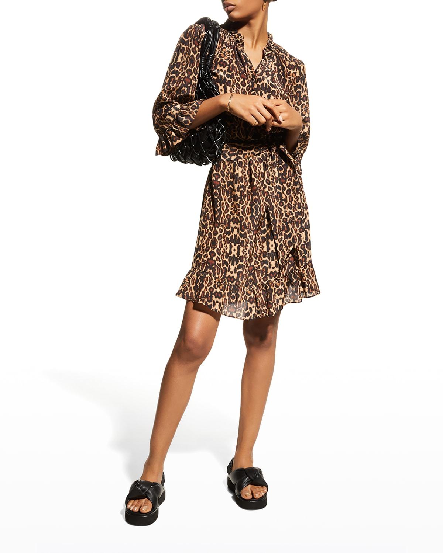 Merceline Cheetah-Print Ruffle Silk Dress