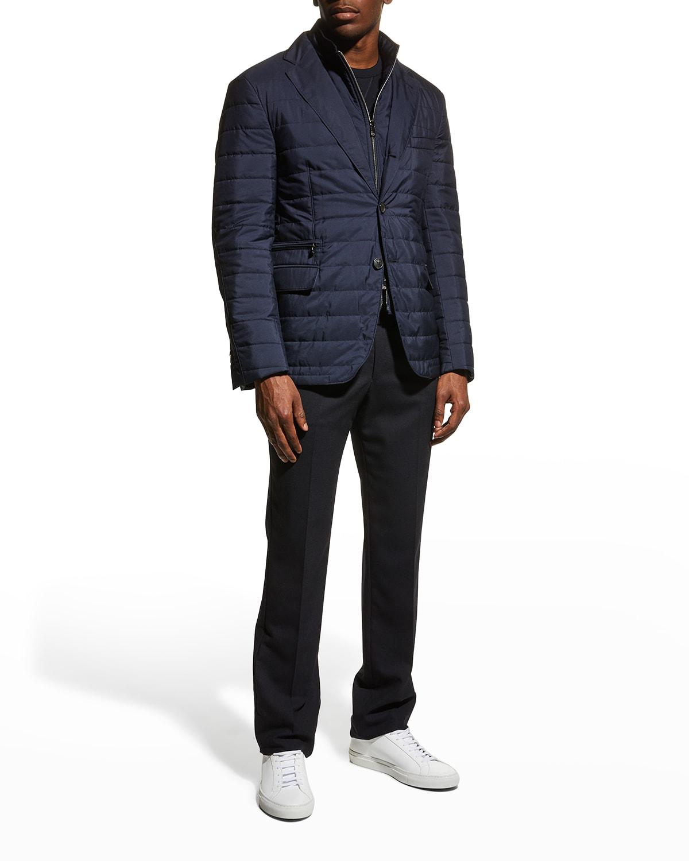 Men's Solid Quilted Blazer