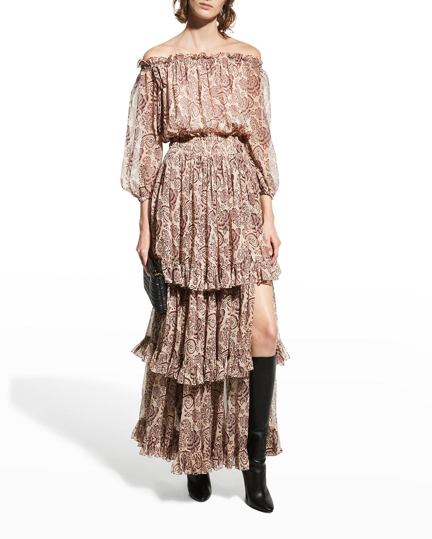 Adrianne Silk Tiered Off-the-Shoulder Dress
