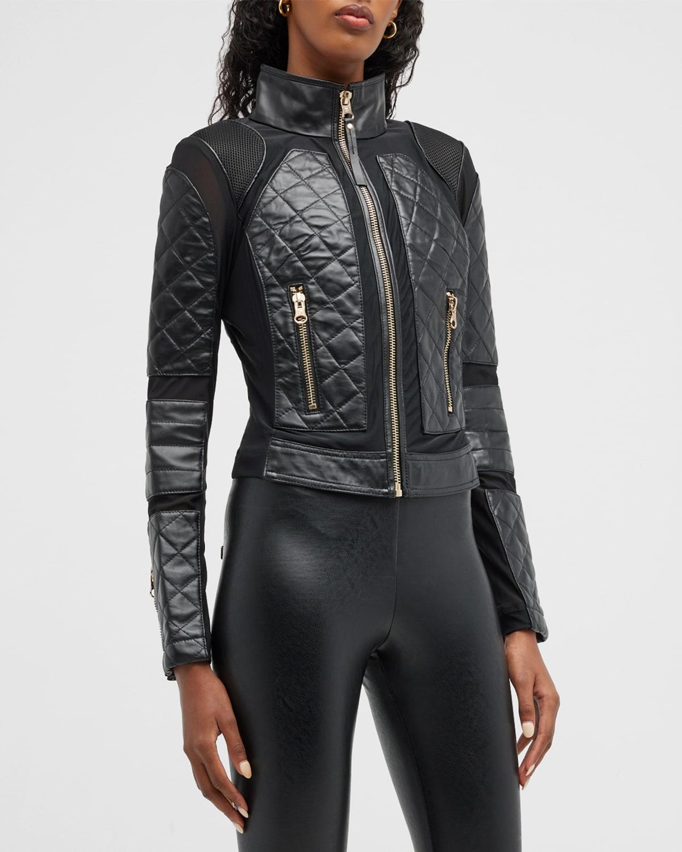 Mesh Leather Moto Jacket