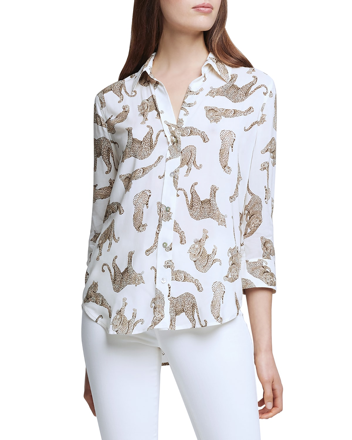 Camille 3/4-Sleeve Printed Blouse