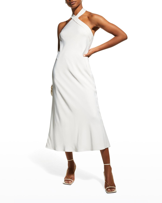 Bias-Cut Midi Halter Dress