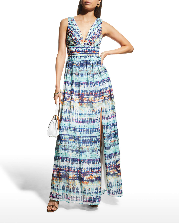 V-Neck Sleeveless Graphic Dress