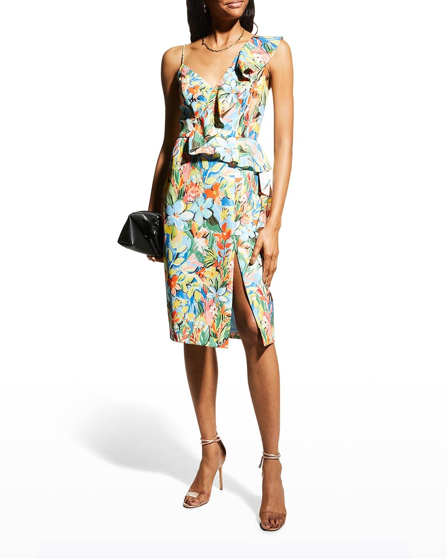 Floral-Print Ruffle-Trim Sheath Dress