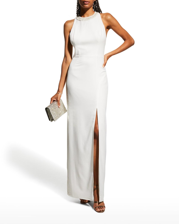 Nia Beaded-Strap Column Gown