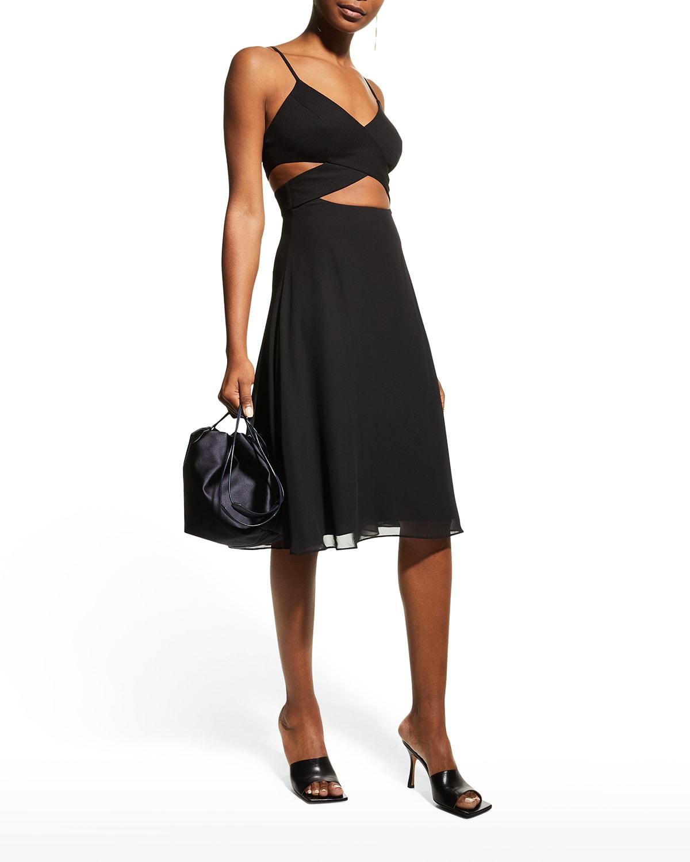 Abigail Midriff Cutout Swing Dress