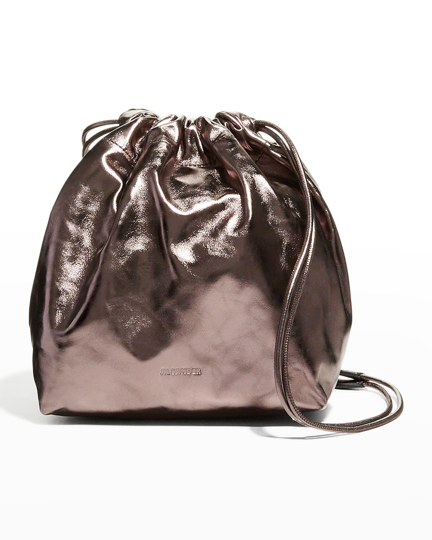 Metallic Calfskin Drawstring Crossbody Bag