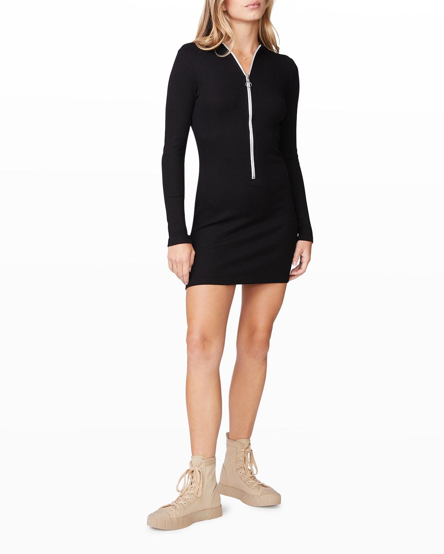 Rib Zip-Up Mini Dress