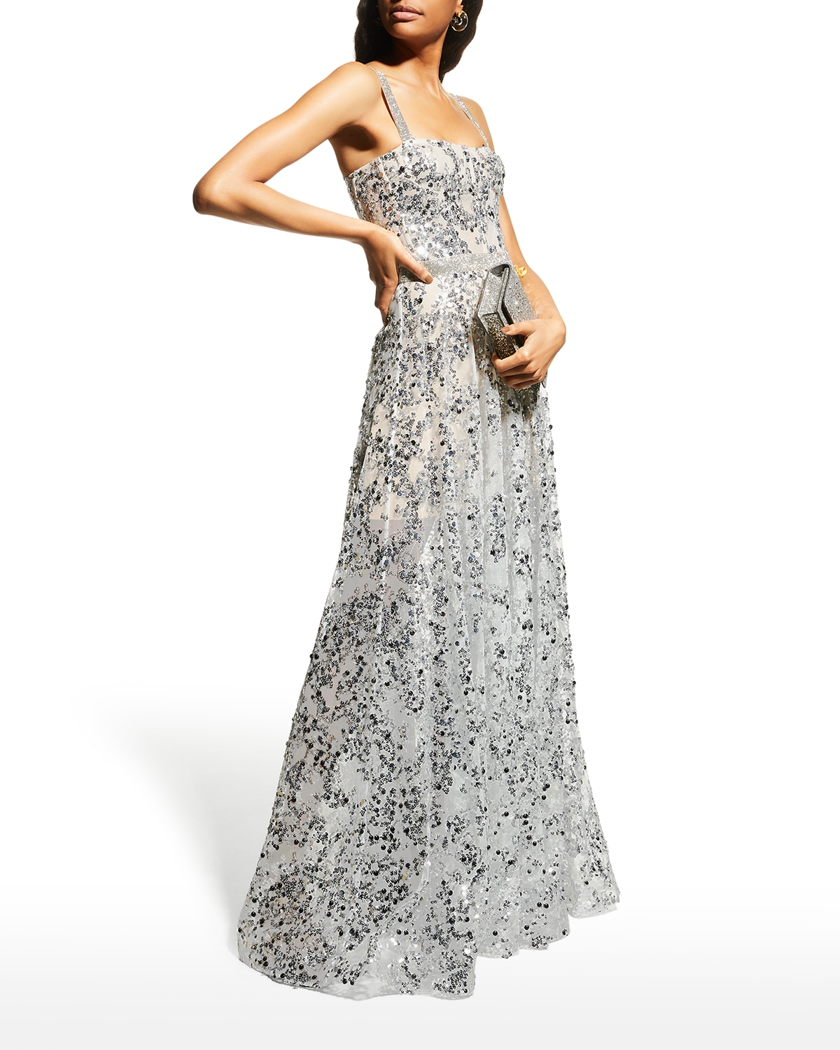 Midnight Silver Sequin Gown