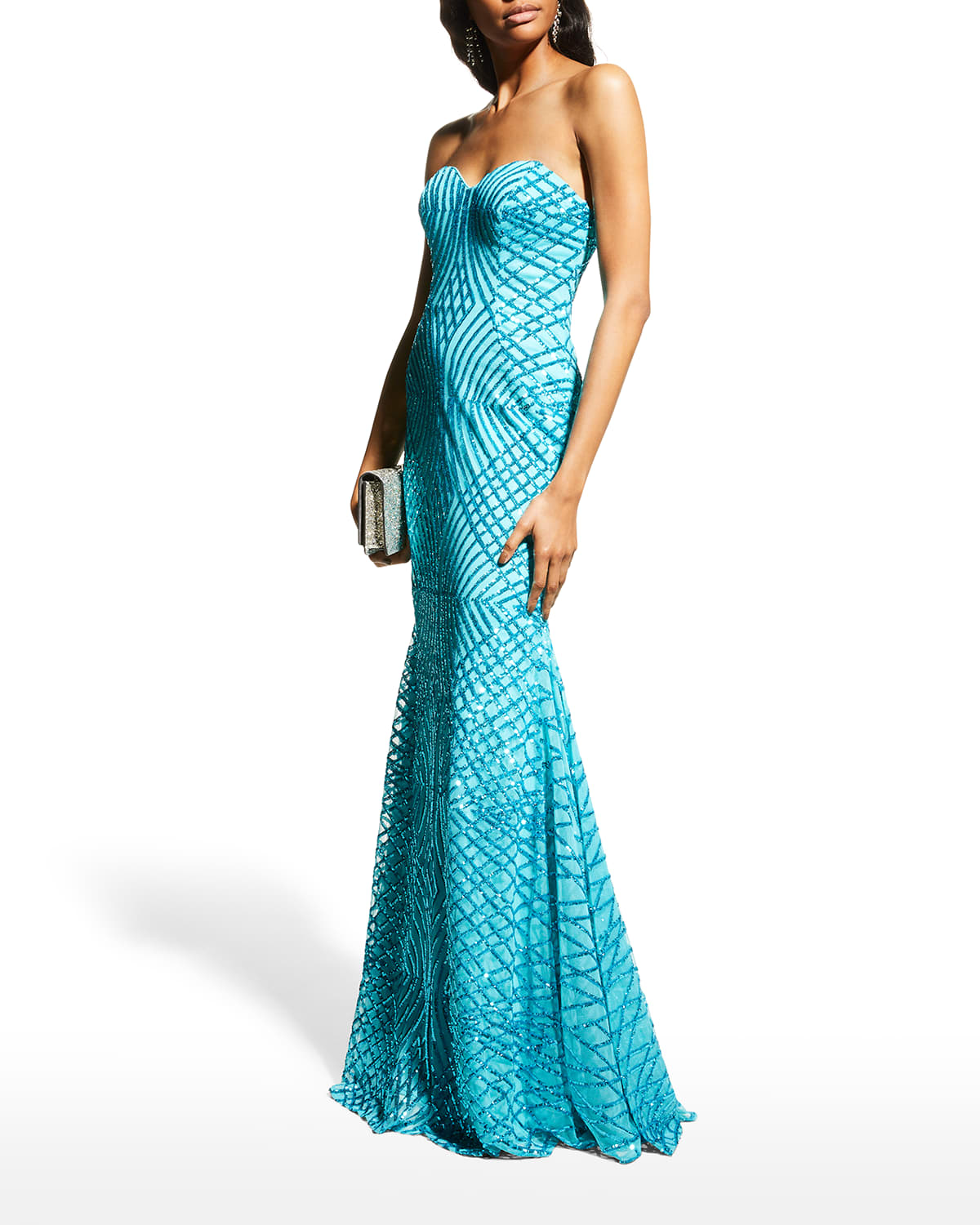 Strapless Sequined Mermaid Gown