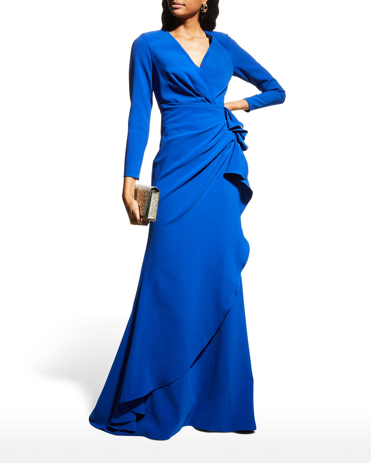 V-Neck Long-Sleeve Side-Draped Gown