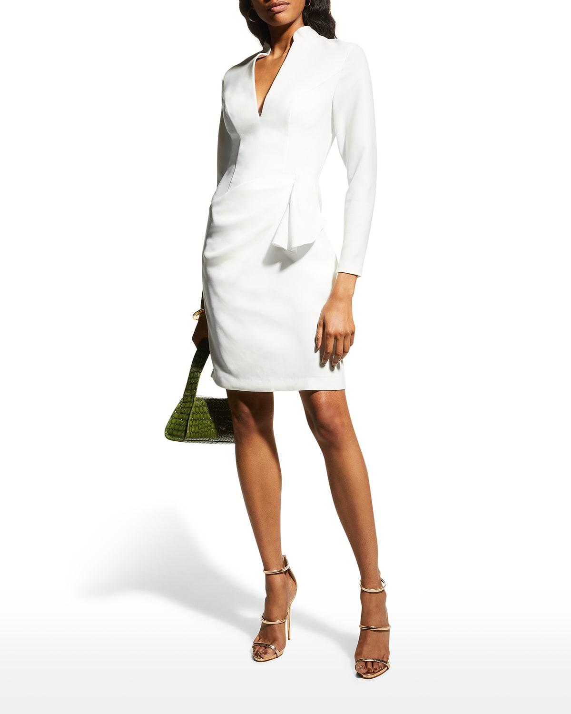 V-Neck Long-Sleeve Sheath Dress