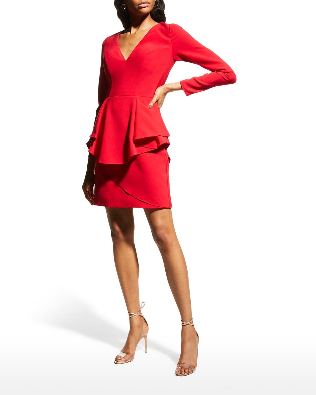V-Neck Long-Sleeve Peplum Dress