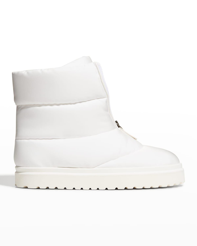 Puffy Nylon Zip Short Boots