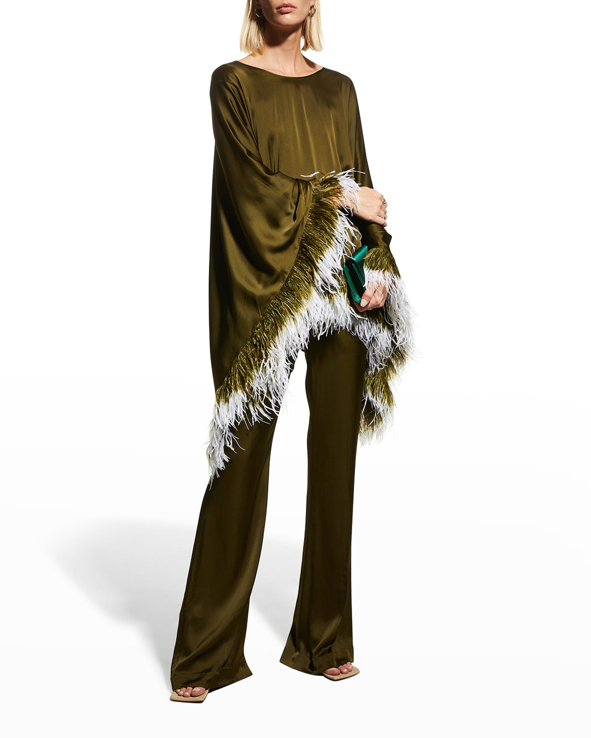 Belted Caftan Top w/ Feather Trim