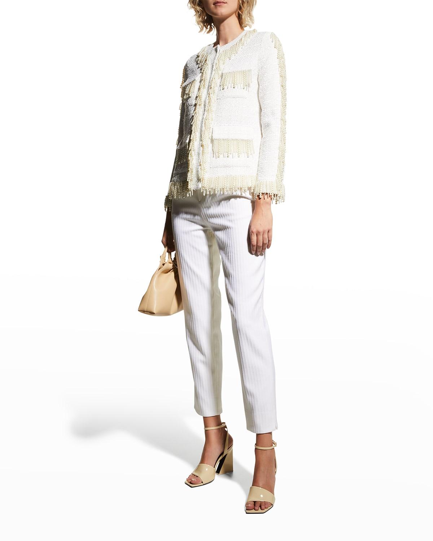 Pearlescent Beaded Fringe Tweed Jacket