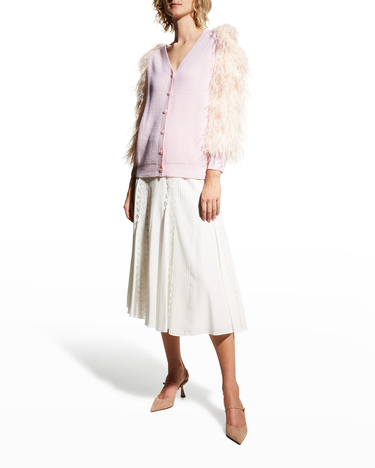 Feathered Sleeves Cashmere Cardigan