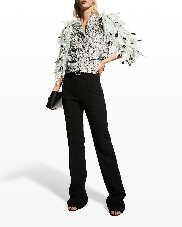 Feather-Sleeves Cropped Tweed Jacket
