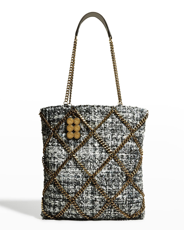 The Grid Chain Tweed Shopper Tote Bag