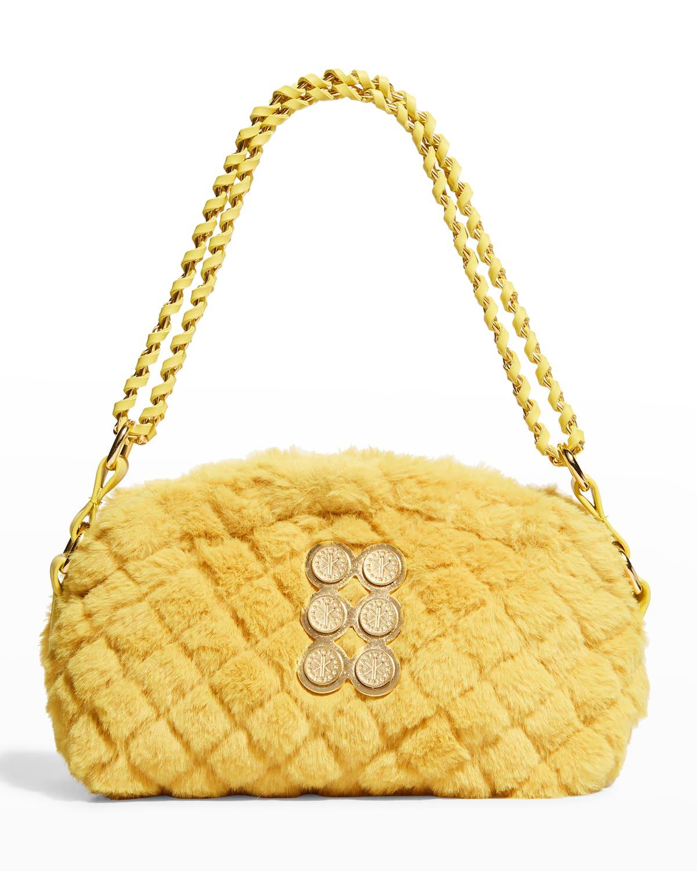 Mini Quilted Faux-Fur Pouch Shoulder Bag