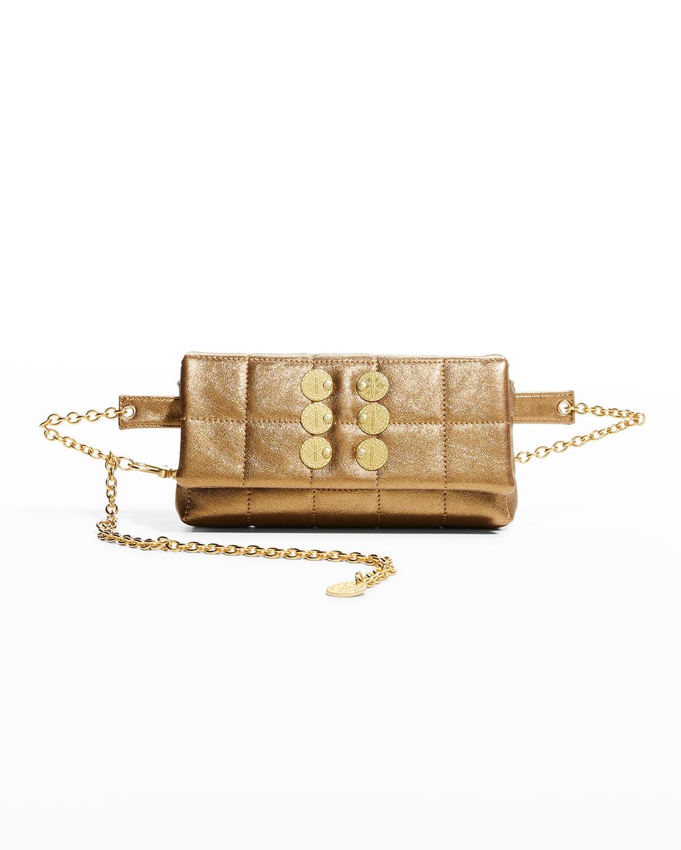 Metallic Quilted Chain Belt Bag