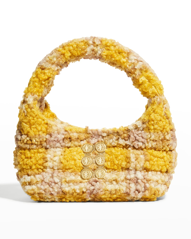Plaid Mini Faux-Fur Hobo Top-Handle Bag