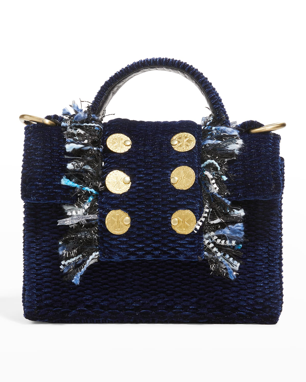 Honeycomb Petite Velvet Fringe Crossbody Bag