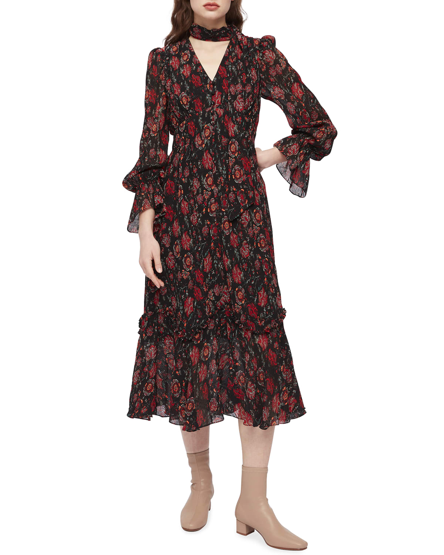 Shazia Ruffled Midi Chiffon Dress