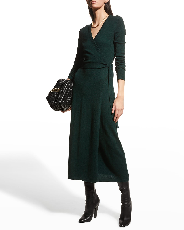 Astrid Midi Wrap Wool-Cashmere Dress