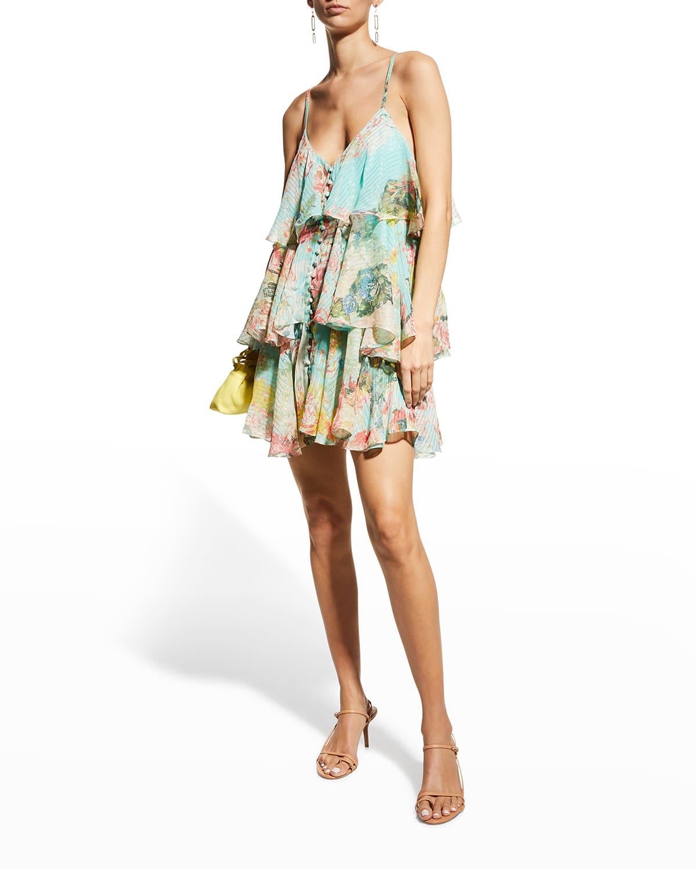Layered Metallic Button-Front Mini Dress