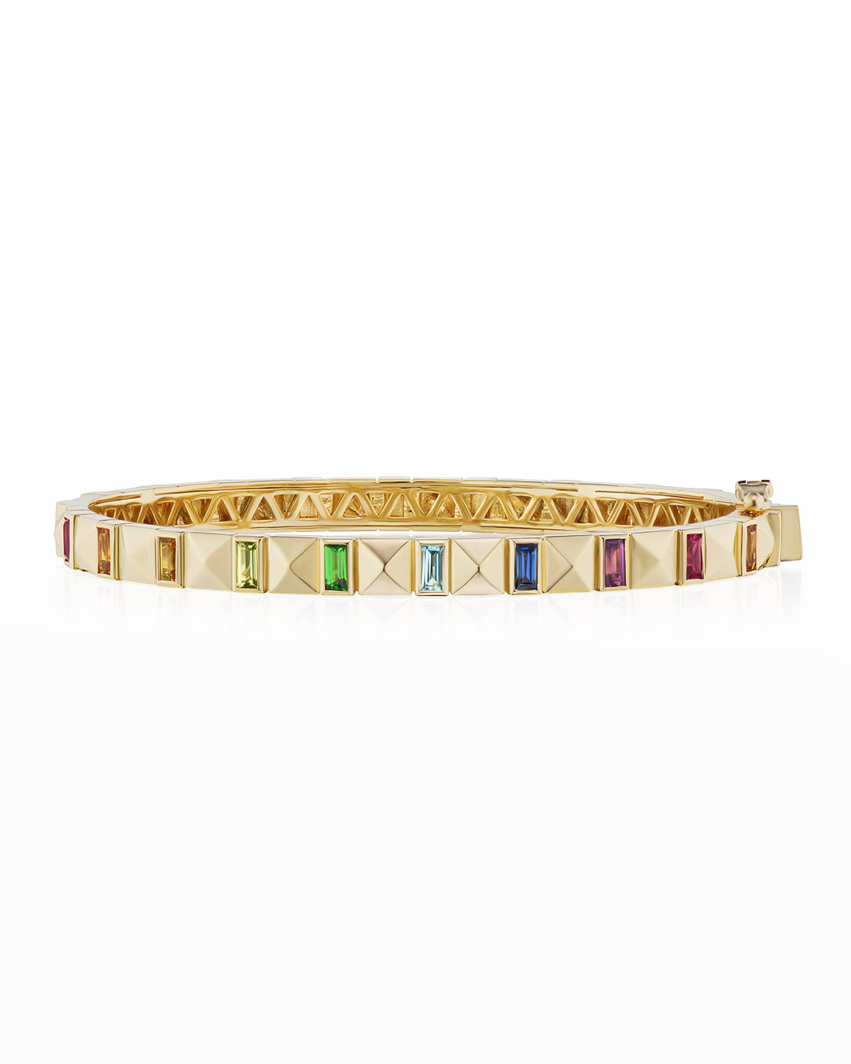 18k Yellow Gold Pyramid Baguette Bangle with Sapphires