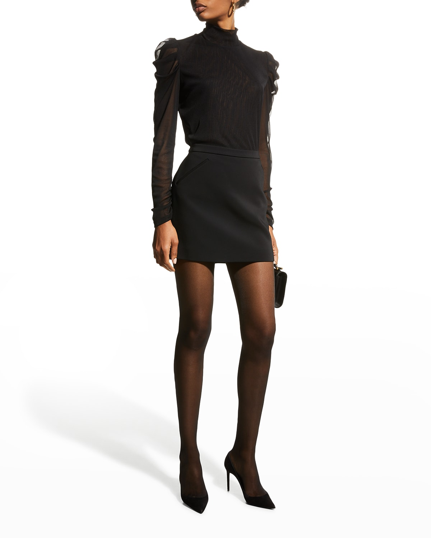Remy Sheer-Sleeve Turtleneck Top
