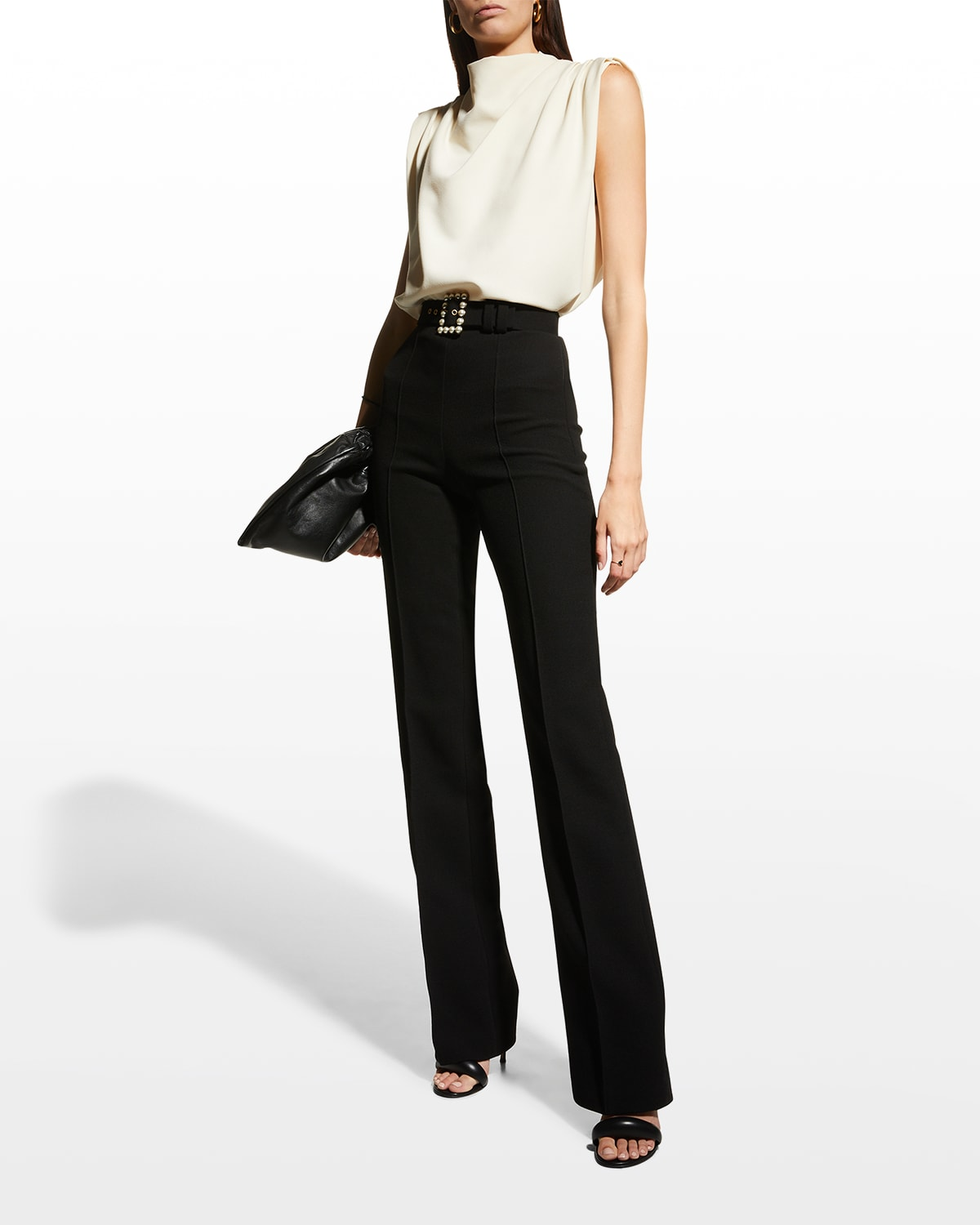 Pearl-Belted Flare Pants